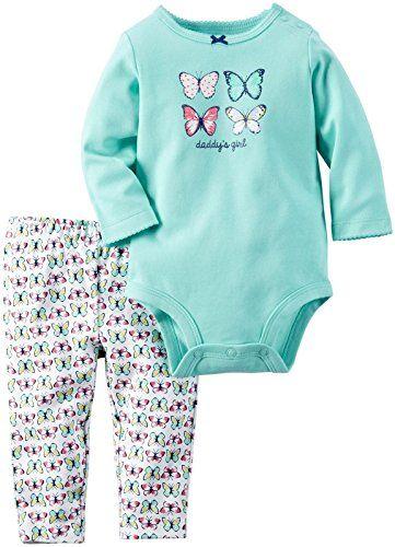 Carter's Baby Girls Bodysuit Pant Sets, Mint, 9 Months