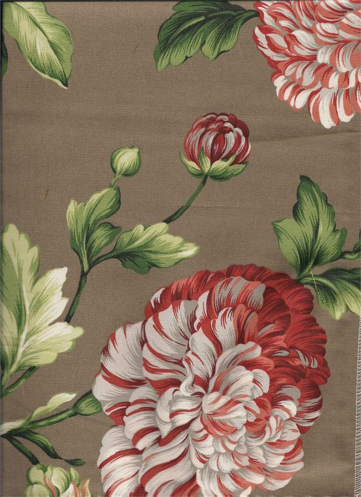 charlotte lacquer floral fabric in chocolate red taupe cream and shades of green tier - Tier Curtains