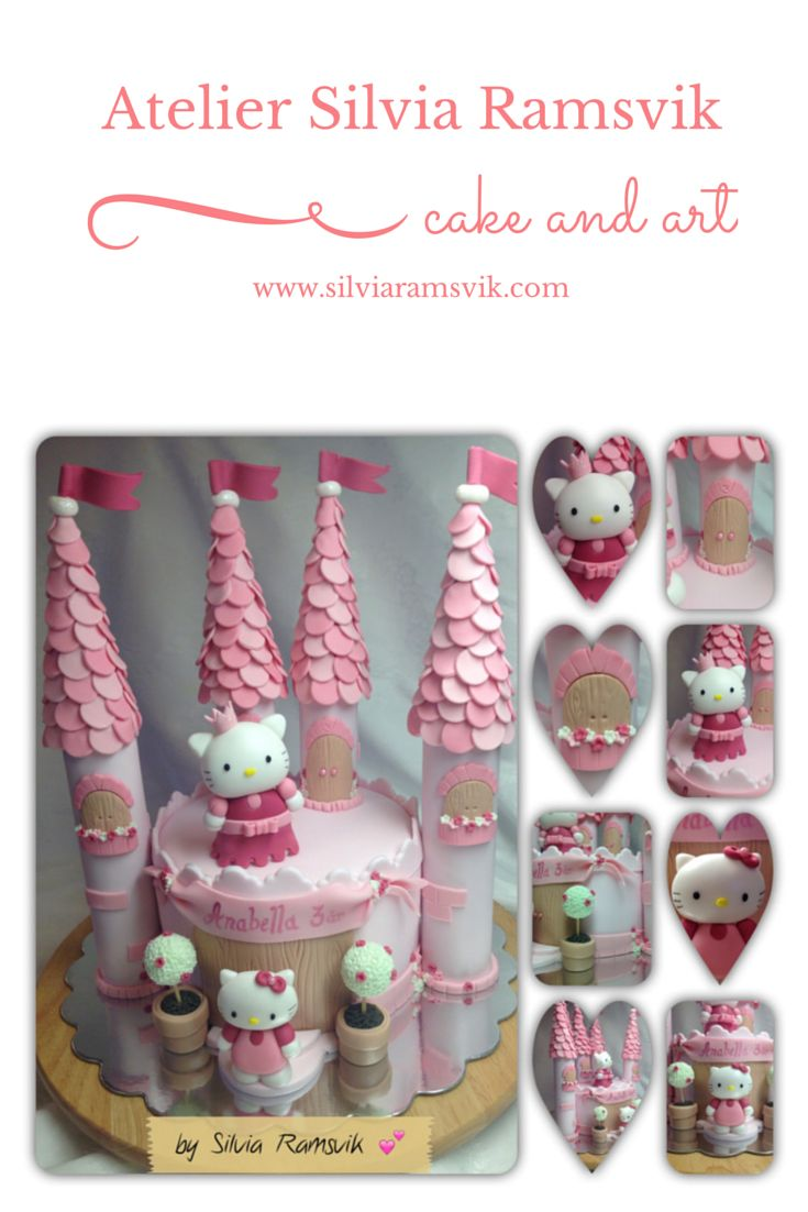 Hello Kitty castle cake  Hello Kitty kakeslott Bolo castelo da Hello Kitty