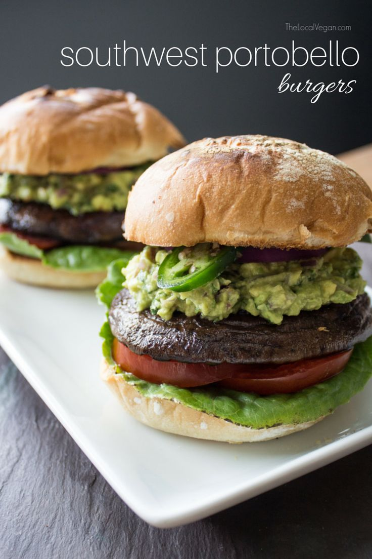 Fire up the grill and bite into a juicy portobello burger!  Topped with creamy guacamole, crunchy jalapeños, and fresh vegetables,  these burgers won't disappoint.   Note: if you don't have a grill you can cook the portobellos in a skillet  or grill pan.  Southwest Portobello Burgers  serves 4      * 4 large portobello mushroom caps     * 2 tbsp balsamic vinegar     * 2 tbsp olive oil     * 1 tbsp soy sauce      * 1 tsp oregano     * 1 tsp salt     * 1/2 tsp fresh ground pepper     * 2…