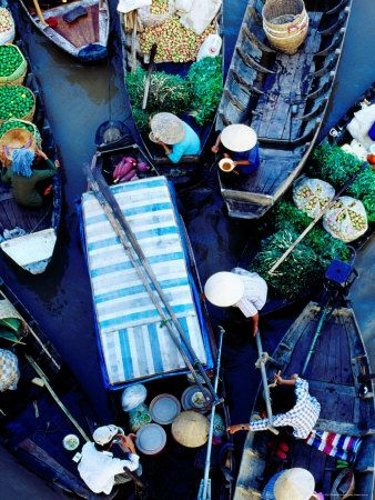 Boats at Floating Market, Vietnam Photographic Print