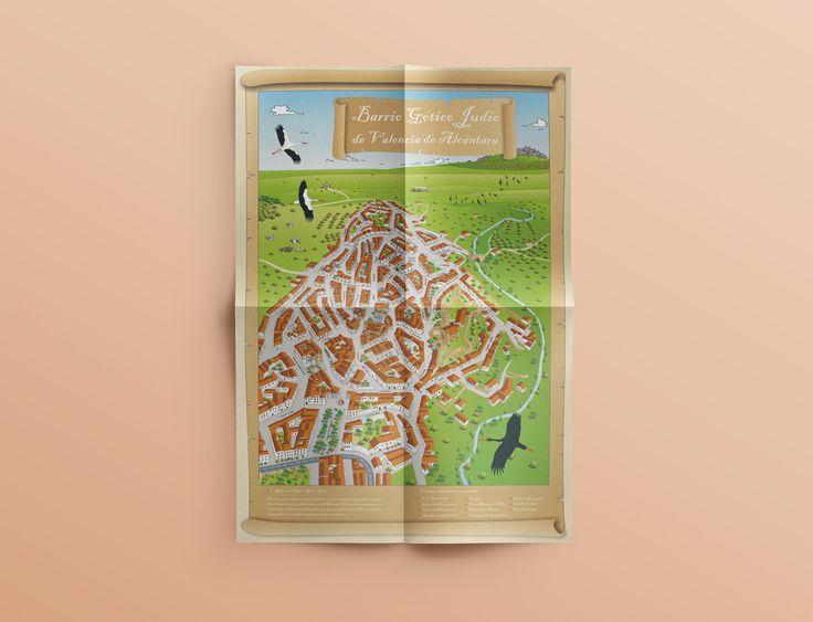 Plano callejero ilustrado - Barrio Gótico Judío | Laruinagrafica - Estudio…
