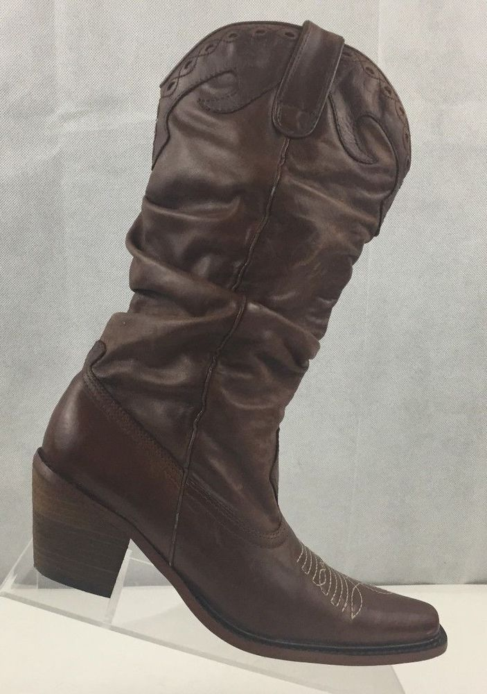 96e68e24134 Details about STEVE MADDEN ROCCCO Women's Brown Leather Mid-Calf ...