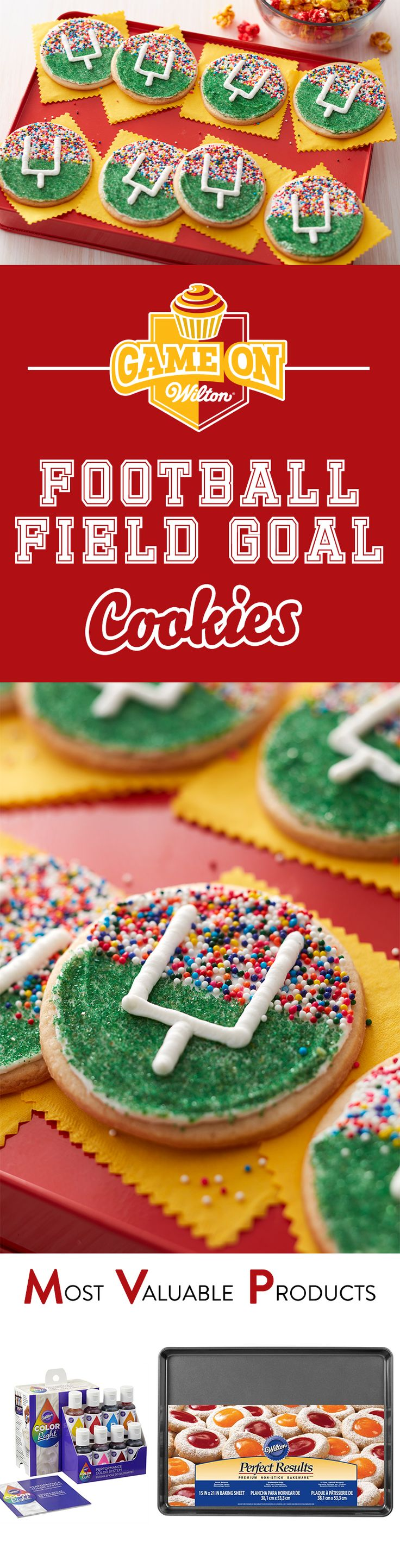 Score big with these Football Field Goal Cookies for your home team as you all watch the big game! Quick and easy to make using your favorite roll out cookie dough and some colorful Wilton Sprinkles. These goal post cookies are great for youth football treats, game day snack or anytime you want a sweet and colorful treat while you cheer on your favorite team!