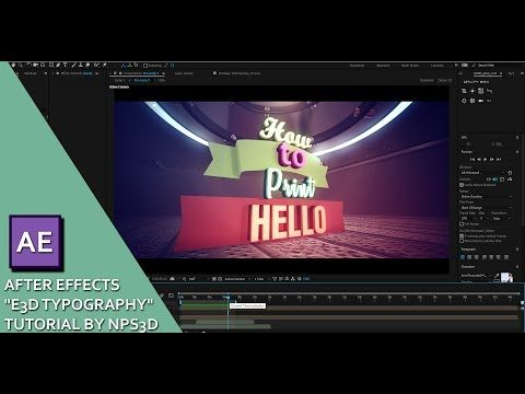 "AFTER EFFECTS ""E3D TYPOGRAPHY"" TUTORIAL BY NPS3D - YouTube"