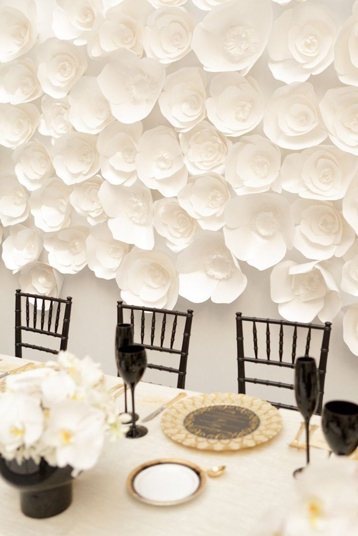 White Paper Flower Backdrop- Paper Flower Designs on earlyivy.com