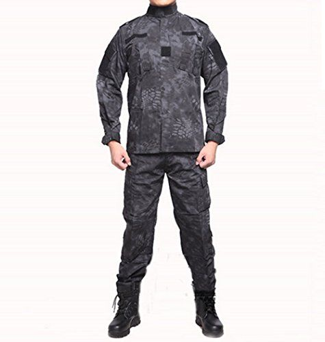 Gods of ice tactical camouflage camping hunting fishing camping Camo suit (Black Python pattern, L) Read more  at the image link.
