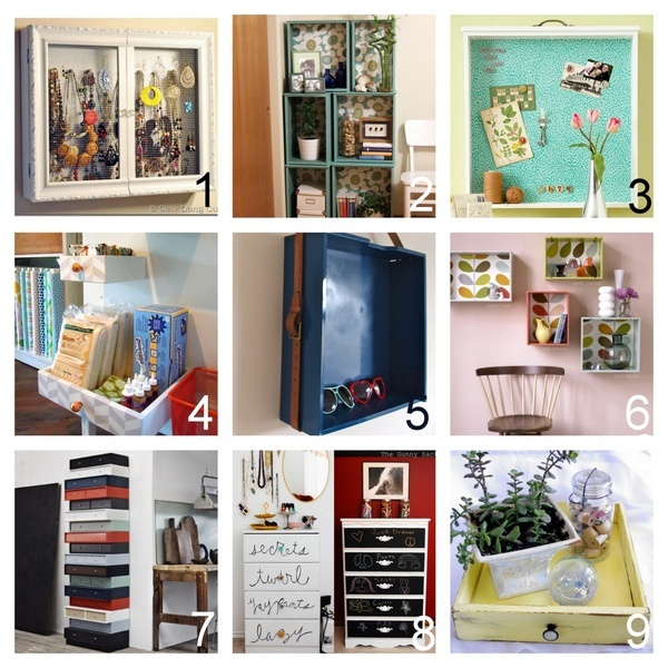 Roundup of Nine Recycled Drawer Tutorials. In response to a question fromfilthypeople:  Hey was wondering if you knew any DIYs of things you can make out of old drawers?  DIY All-in-One Jewelry Cabinet - you could use a drawer. Also clever use of a picture frame as doors (Sew Dang Cute) here. DIY Modular Bookshef (Crafty Nest) here. DIY Bulletin Board lined with Corkboard (Better Homes and Gardens) here. DIY Wall Shelves - look in comments section for how to hang them (Home Made) he