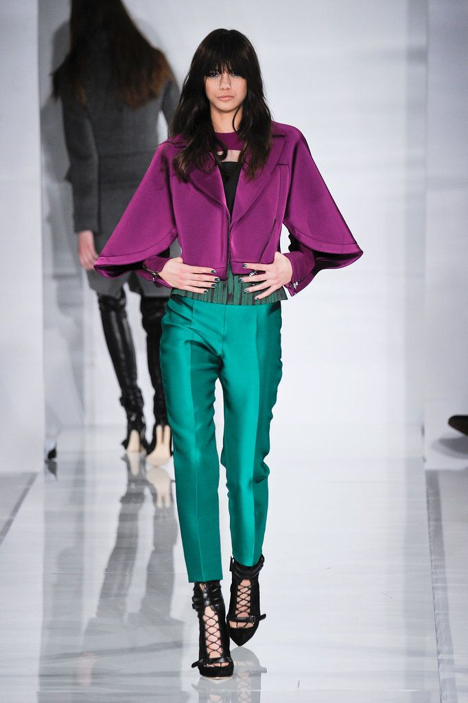Antonio Berardi Has Us Green With Envy: Antonio Berardi's palette was so strict this season that he showed only one bright hue in a collection that focused around black, white, and gray.