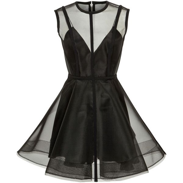 Alex Perry Brooklyn Mini Dress (5.335 BRL) ❤ liked on Polyvore featuring dresses, vestidos, black, sleeveless short dress, short a line dresses, a line mini dress, a line dress and alex perry