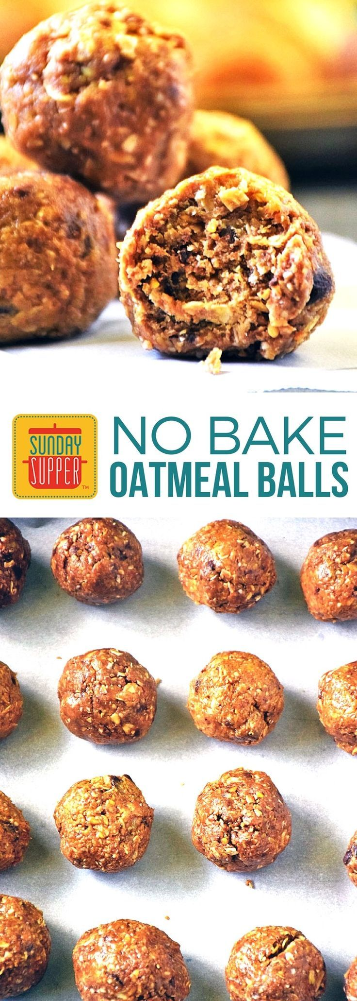 Little balls of heaven! No Bake Oatmeal Balls loaded with protein & other good-for-you stuff are one of our Best After School Snacks! Your kids will ask for these again and again never knowing how healthy they are. Full of flax seed, oats, peanut butter, honey, & a little bit of chocolate chips, these no bake oatmeal balls make the perfect anytime snack! #SundaySupper