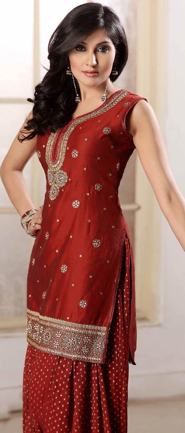 #Red Chanderi #Silk Salwar Suit @ $138.19   Shop Now @ http://www.utsavfashion.com/store/sarees-large.aspx?icode=krf41