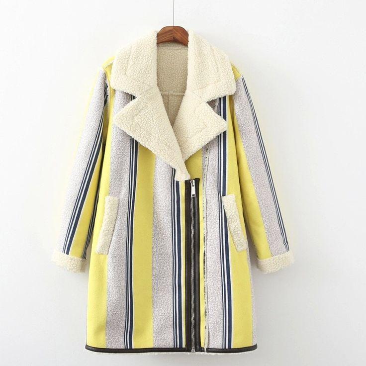 Vintage-Style Designer Tribal or Stripe-Print Fashion Side Zip Shearling Leather Suede Coat S-L 2 Colors