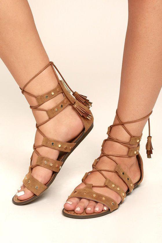 e79d48fb60530b Report Laurel Tan Suede Gladiator Sandals 4
