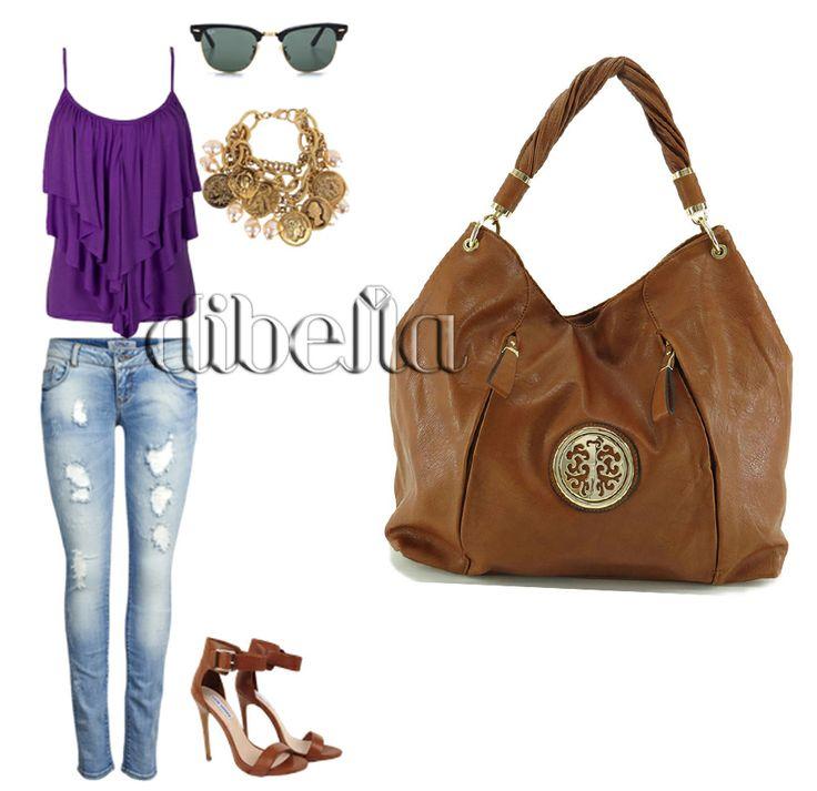 Look casual com jeans e bolsa hobo caramelo. #moda #bolsa #bolsafeminina #bolsahobo #lojadibella #handbag #fashion