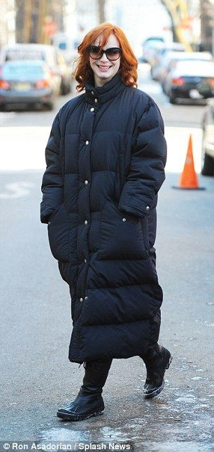 Only Mad Men would brave the fierce Brooklyn chill without wrapping up like Christina Hendricks