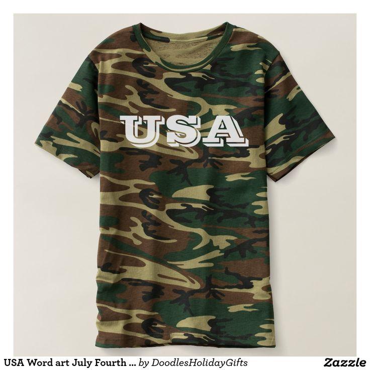 USA Word art July Fourth camo t-shirt