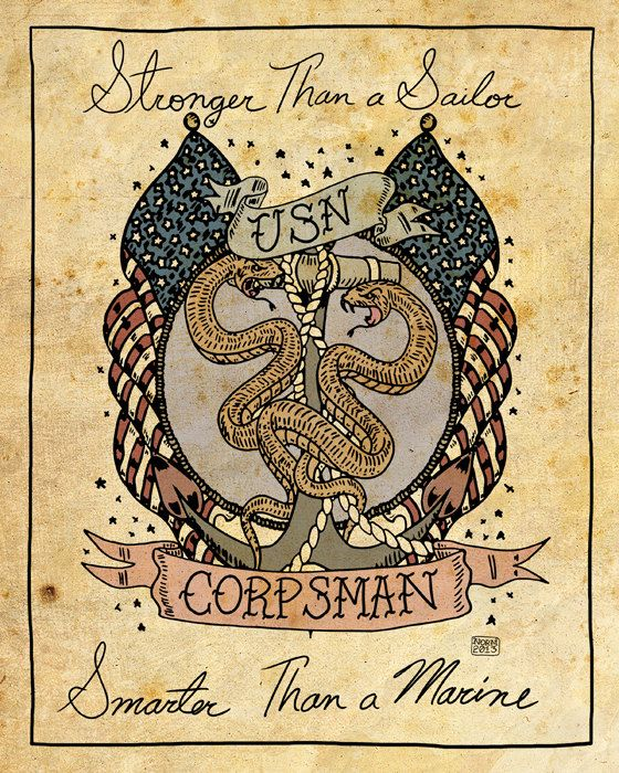 "US Navy Corpsman Tattoo Print ""Stronger than a Sailor, Smarter than a Marine"""
