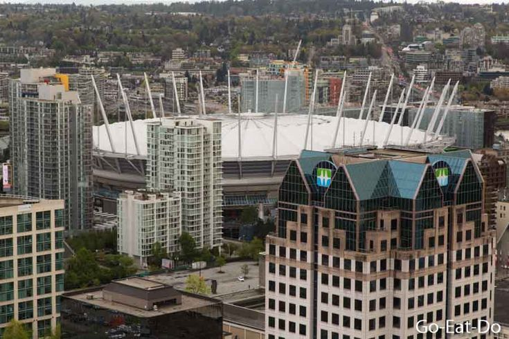 A view from the Vancouver Lookout. BC Place Stadium is the home of Vancouver Whitecaps FC.