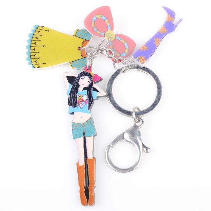 Newest Cute Girl Marvel Acrylic Key Chain For Keys Women Girl Decorative Keychain Charm Pendant