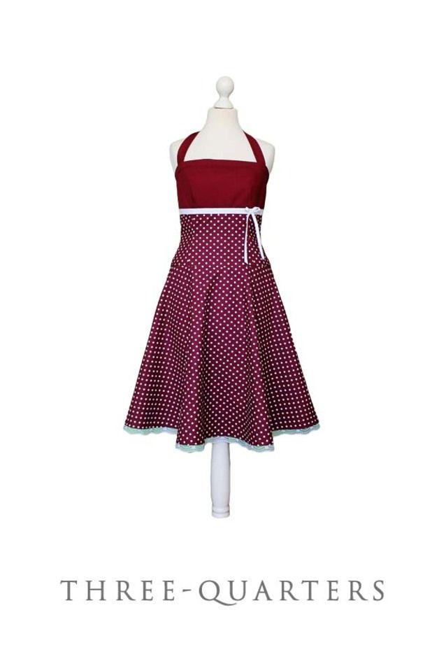 DOTTIE MAE - Vestido  ♥♥ hecho a mano, en mal estado nostálgico - para aquellos que les gusta vestir a ella como un romántico ♥♥  El vestido es en color rojo vino oscuro con puntos...