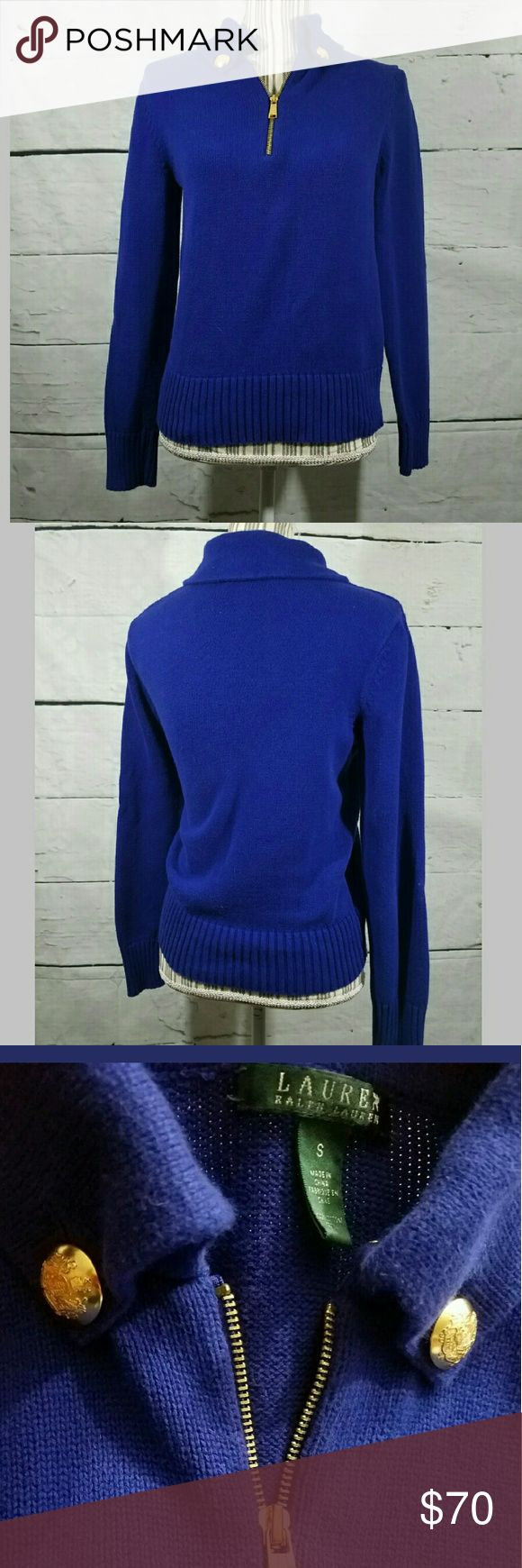 Lauren Ralph Lauren Zipper Cotton Sweater Collar Lauren Ralph Lauren Zipper Cotton Sweater Collar Buttons Blue Gold Small  No holes or stains. Very Good used condition.  19 inches pit to pit. 23 inches long.  LB Lauren Ralph Lauren Sweaters
