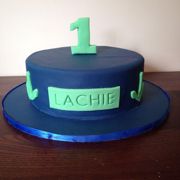 1st birthday cake. Covered in fondant.