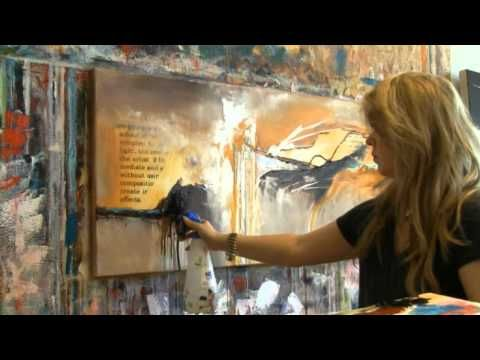 Abstract acrylic painting demo Zacherfinet...oh she makes it look so easy