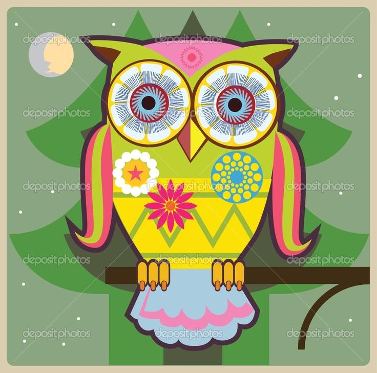 owl cartoons | Cartoon owl in green forest | Stock Vector © Elena Repkina #12204767