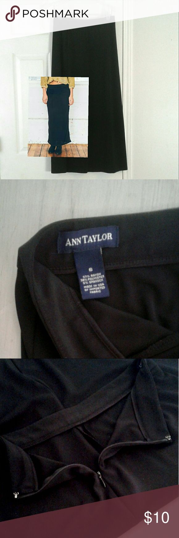 """Ann Taylor black jersey maxi skirt 6 Vintage Ann Taylor in good used condition, no stains, snags etc. From smoke free home.  Little over 1"""" banded waist, side zip w/hook and eye.  Measures 14"""" across waist and 35"""" long. Rayon/poly/spandex. Bundle and save!  Happy Poshing ; ) Ann Taylor Skirts Maxi"""