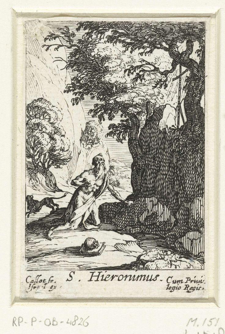 Jacques Callot | De boetvaardige Hiëronymus, Jacques Callot, Israël Henriet, Lodewijk XIII (koning van Frankrijk), 1632 | In een rotsachtige omgeving zit Hiëronymus op zijn knieën bij een kruis met een steen in zijn hand. Achter hem springt een leeuw weg. Onder de voorstelling een onderschrift in Latijn. Deze prent is onderdeel van een serie van zes prenten, bestaande uit een titelprent en vijf voorstellingen van boetvaardige heiligen.