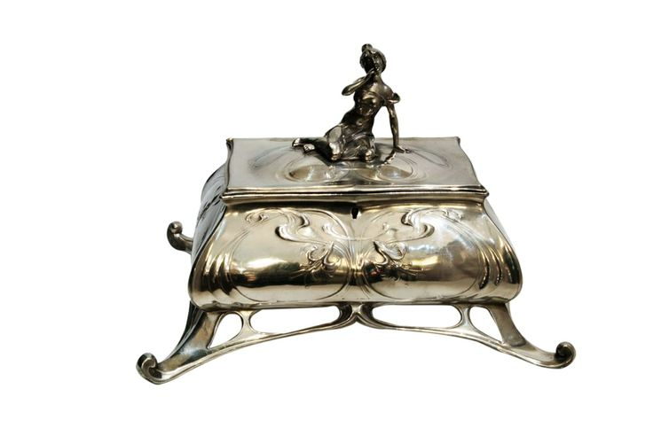 Large silver plated Art Nouveau box with a female figure on www.classiqs.com