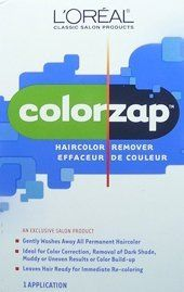 L'OREAL ColorZap Hair color Remover Kit (Quantity- 1 Application):   ColorZap removes all unwanted permanent hair color and leaves hair ready for a new shade application. ColorZap is ideal for all color corrections and will allow you to make any desired color changes. ColorZap will not restore hair to its original, natural color. It removes the tint revealing the underlying base from which the natural color has been removed in the haircoloring process. Plan to re-color to a new shade i...