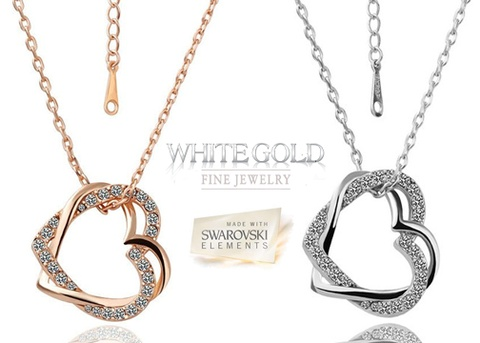 Swarovski Crystal Double Heart Necklace - 18K white and rose gold plating - Save 83% Just $19