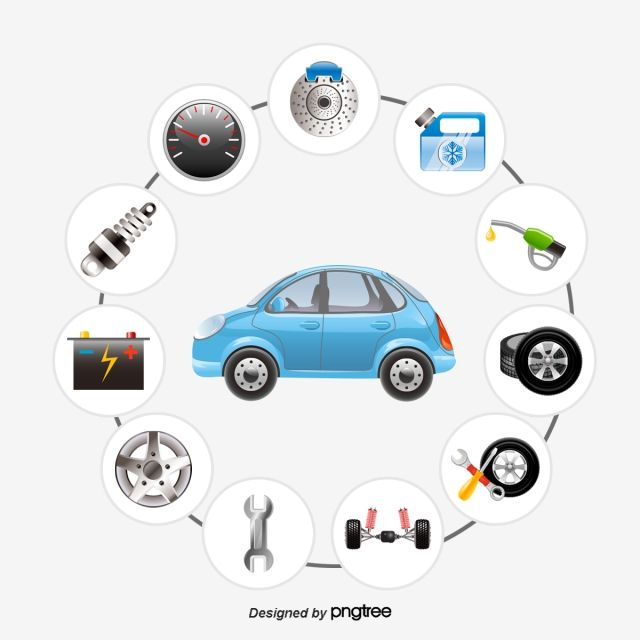 Vector Cars And Auto Parts Vector Diagram Car Car Parts Png And