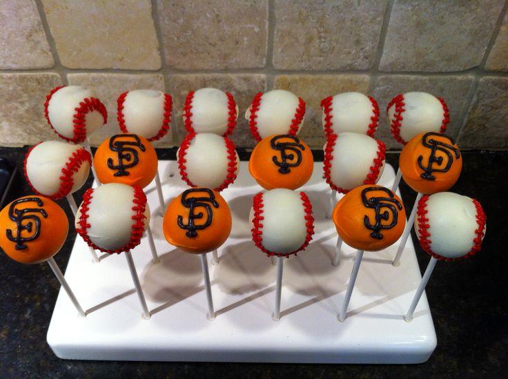 SF Giants logo and baseball cake pops