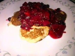 Yummy easy dairy free banana pancakes with berry sauce!