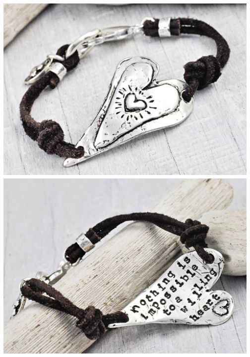 "... For every romantic...our Willing Heart bracelet has a triple heart pendant with ""nothing is impossible to a willing heart"" stamped into the back..."