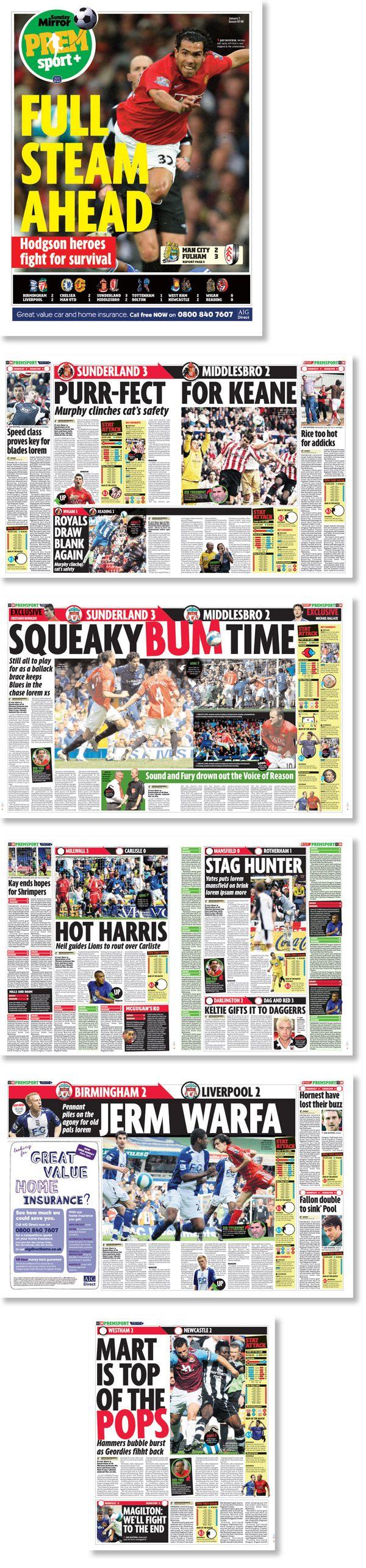 Dirección de arte y diseño del periódico deportivo del Sunday Mirror, Inglaterra.  Trabajo realizado para Estudi Cases.
