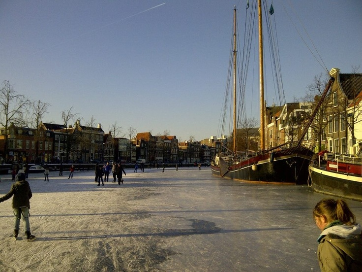 Haarlem centrum, Spaarne, winter 2012