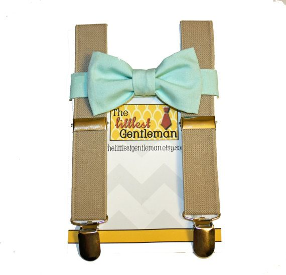 boy bow tie suspenders set mint bow tie by TheLittlestGentleman