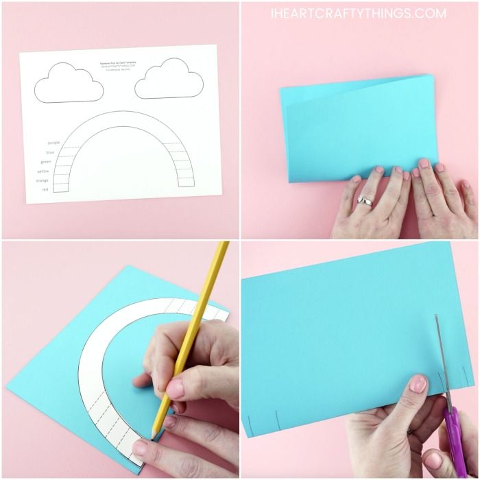 How To Make An Easy Pop Up Rainbow Card Rainbow Card Rainbow Crafts Kids Pop Up Card Templates