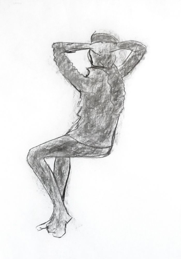 Fátima Sabali. Carvão s/ papel, 59,4 x 42 cm