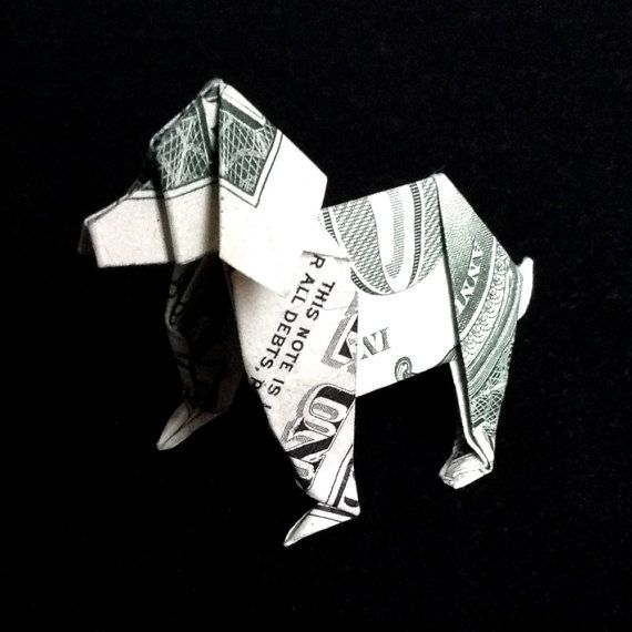 Art Gift Money Origami DOG Made out of Real One by…