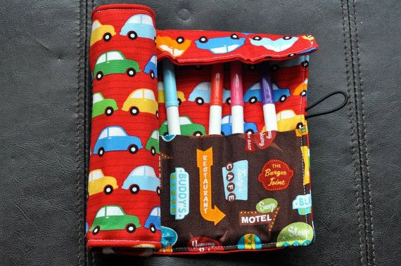 Red Cars Felt Cozy/Roll Including Crayola by SpoonerSistersDesign, $20.00