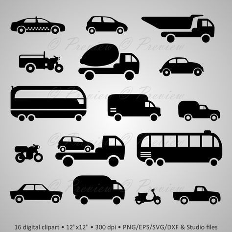 Buy 2 Get 1 Free! Digital Clipart Transport Silhouettes, car, auto, bus, motorcycle, taxi, wagon, black images png/eps/svg/dxf/studio files by PeppyPapers on Etsy