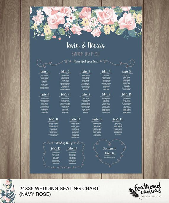 Wedding Seating Chart 24x36in Navy & Roses