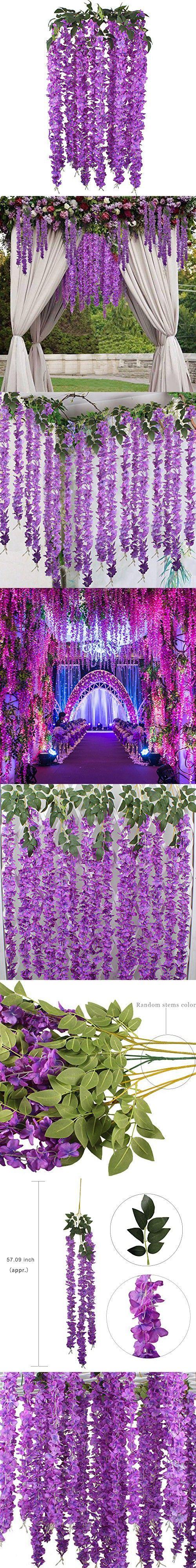 GTidea 5pcs Silk Wisteria Flowers Hanging Vine Rattan Artificial Plant Garland Wreath Wholesale Home Garden Fences Restrant Hotel Parties Wedding Simulation Decor in Purple