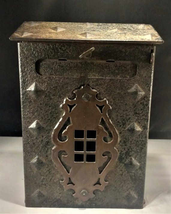 This Vintage Mailbox Is Made Of Steel With A Brass Decal The Wall Mount Mail Box Has A Brutalist Approach With Vintage Mailbox Old Mailbox Wall Mount Mailbox