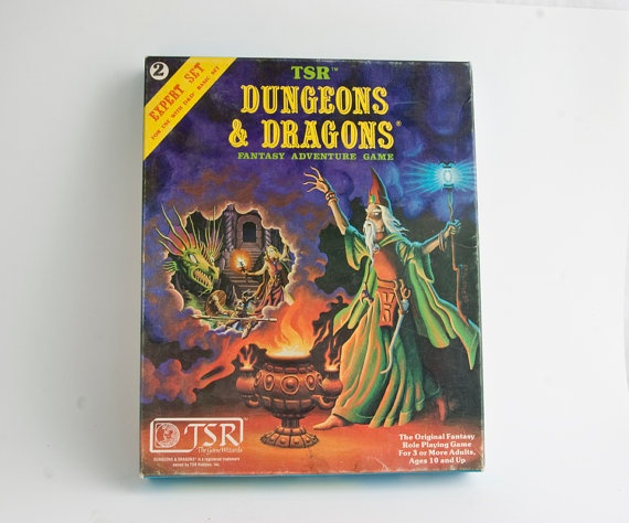 Vintage Dungeons and Dragons Rule Books, Basic Rule Book, Expert Rule Book, D and D Dice, 1981....the boys at my school were obsessed with this game!